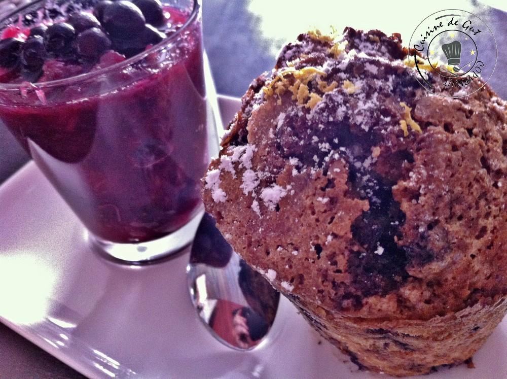 Muffins aux Myrtilles et compotée de rhubarbe myrtilles