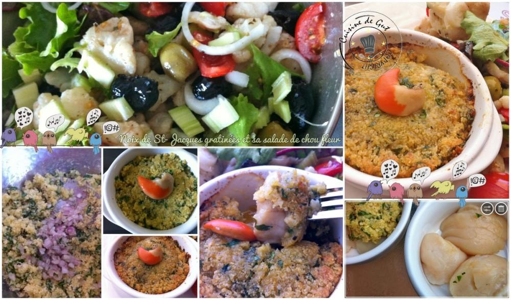 Noix de St-jacques gratinées et salade de chou fleurs MONTAGE