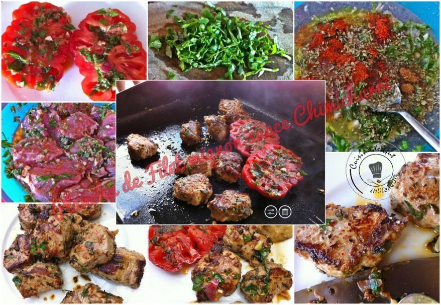 Plancha de filet mignon sauce chimichurri montage