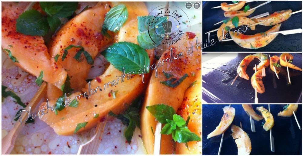 Plancha de Melon menthe gingembre et huile de noix montage