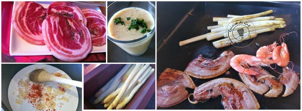Plancha de pancetta asperges oeuf crevettes et crème de parmesan