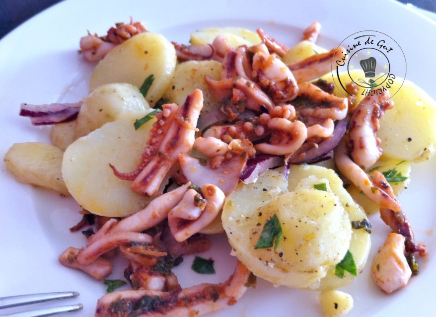 Primabreizh et encornets cuits à la plancha en salade assiette