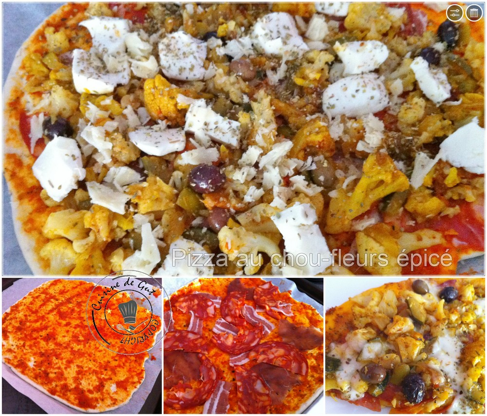 Pizza au chou fleurs épicé !montage