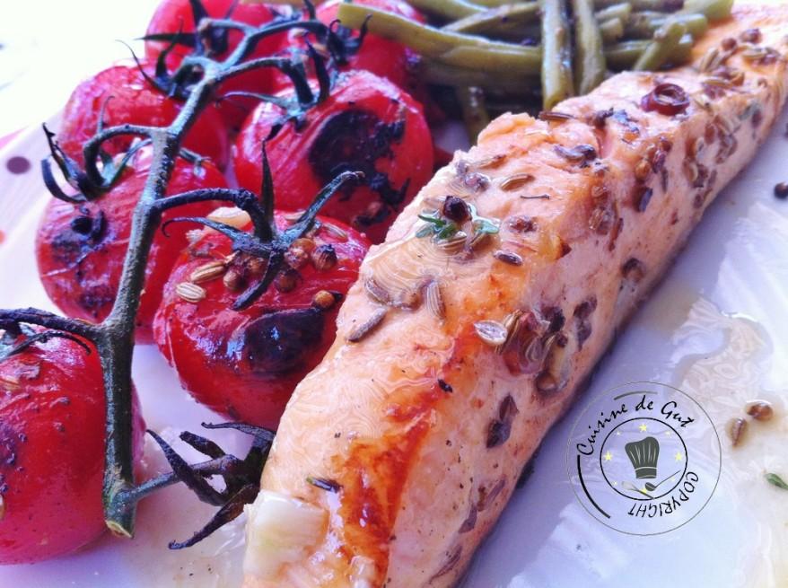Plancha de tomates et saumon marinés bière coriandre et saumon 1
