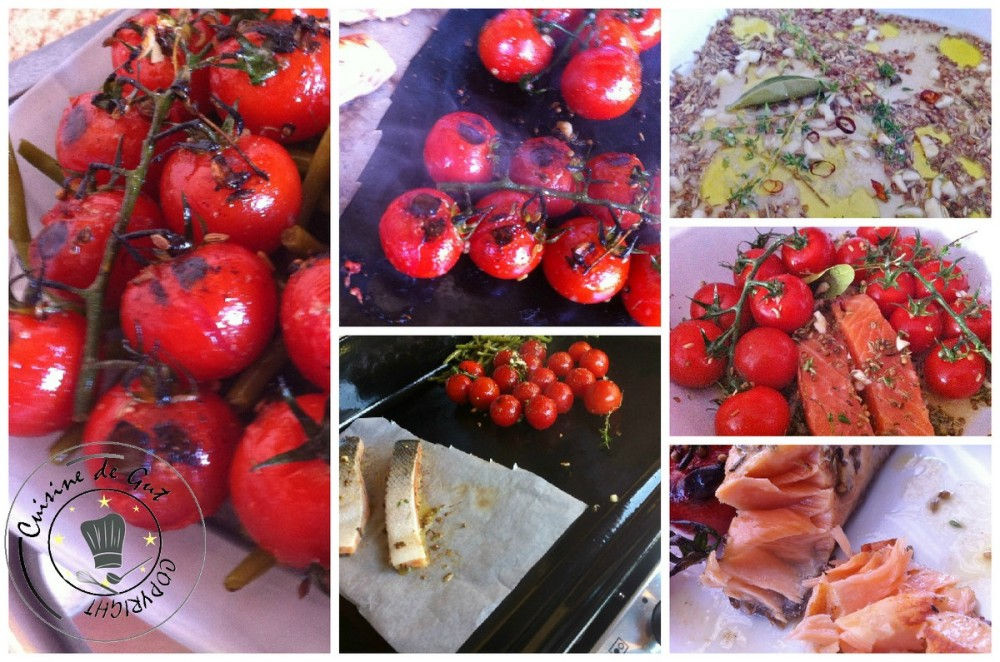Plancha de tomates marinées à la bière coriandre et fenouil