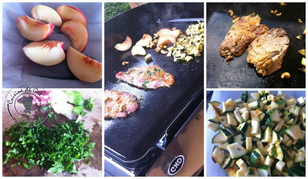 grillades de porc à la plancha, noix de Cajou, courgettes et nectarines2