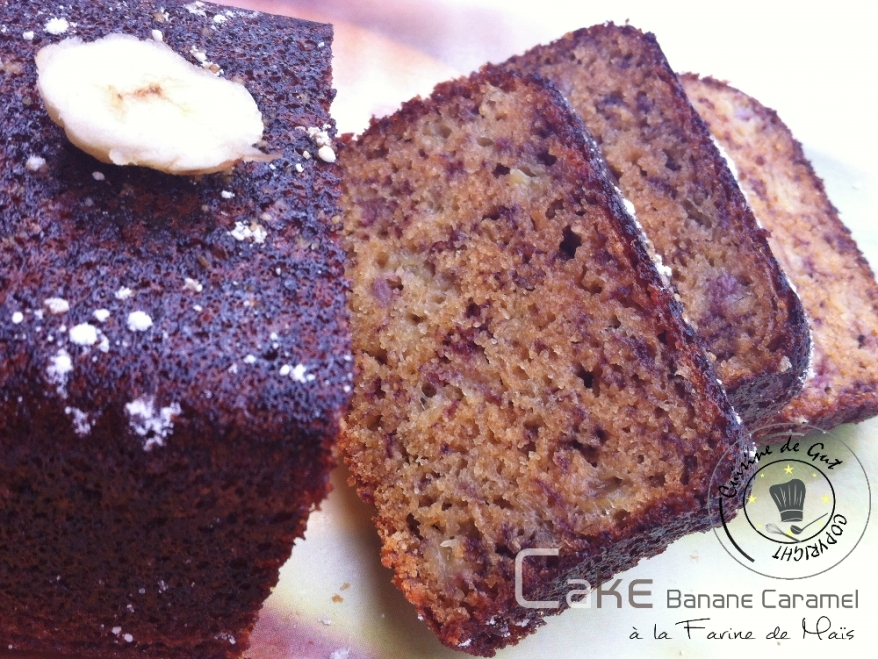 Cake banane caramel à la farine de Maïs 1