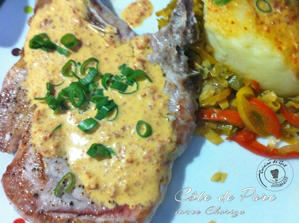 Côte de Porc sauce chorizo 2 H