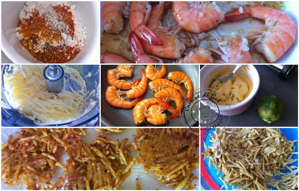 Crevettes marinées au combava et paillassons pimentés au curcuma2
