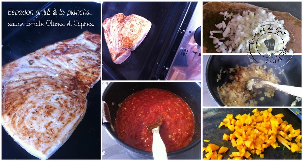 Espadon grillé à la plancha sauce tomates olives et câpres 2