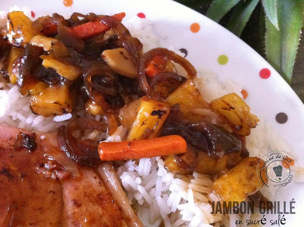 Jambon grillé en sucré salé