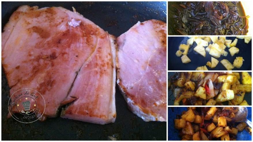 Jambon grillé en sucré salé d'ananas et chutney d'oignons