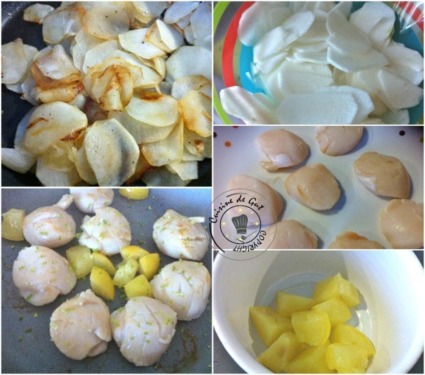 Noix de St-Jacques au combava et Citron confit sur lit de navets caramélisés2