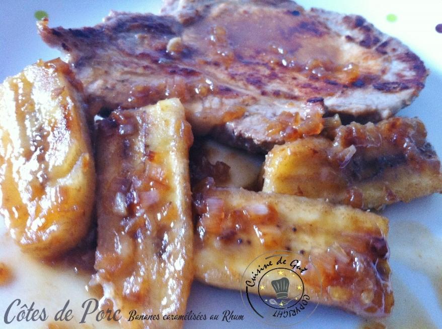 Côtes de porc et bananes caramelisées au rhum1