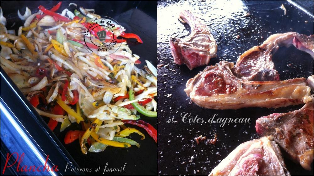Plancha de poivrons fenouil et cotes d'agneau1