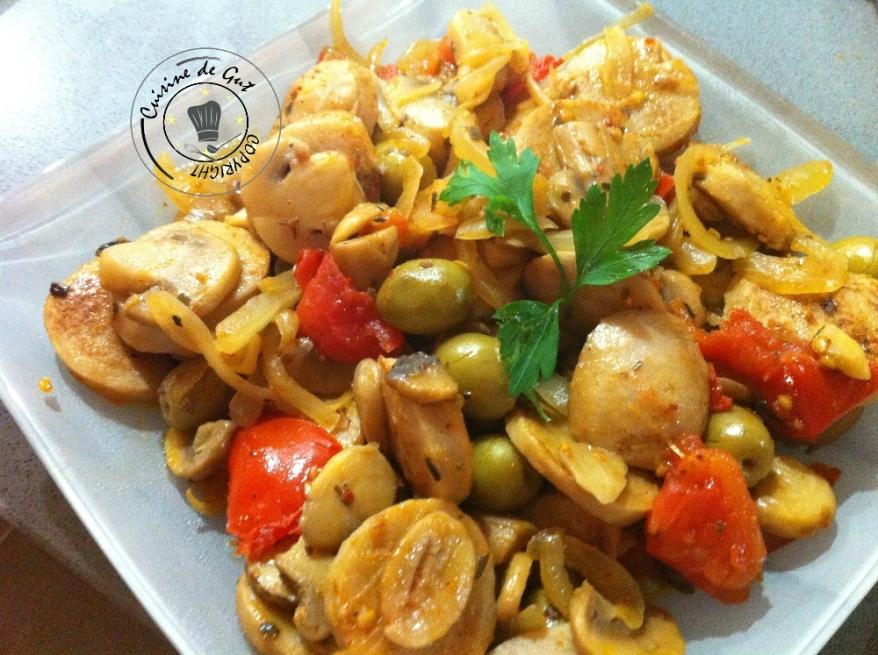 Poêlée de boudin et champignons aux olives1