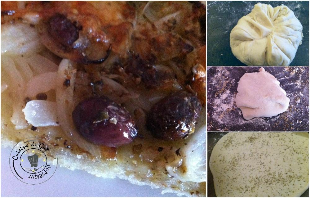 Pizza oignons basilic olives et parmesan2