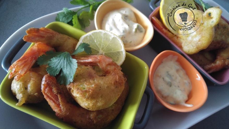 Beignets de crevettes ail et piment sauce curry et câpres