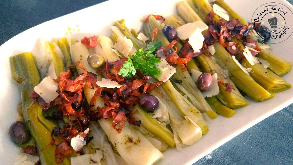 Poireaux vinaigrette au chorizo et parmesan
