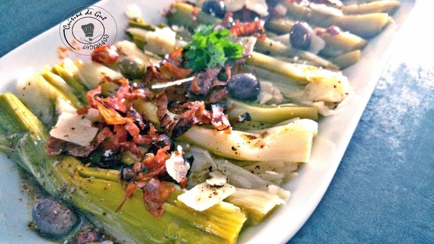 Poireaux vinaigrette au chorizo et parmesan1