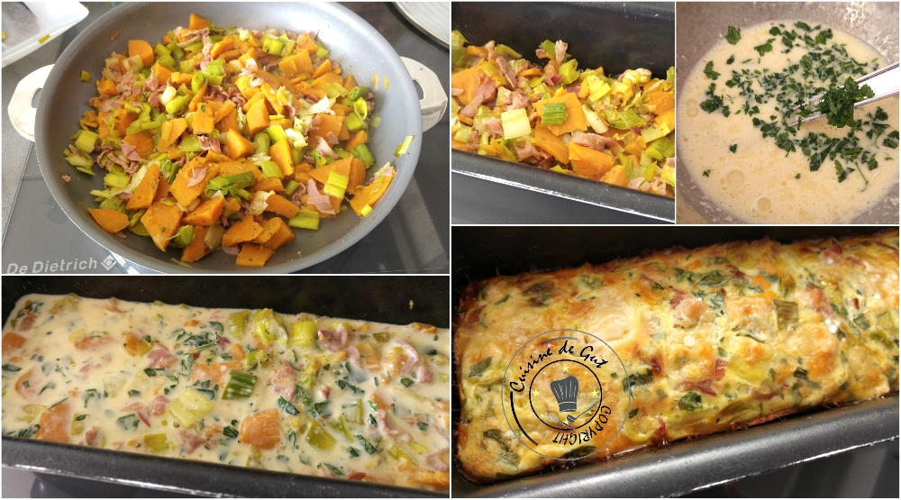 Clafoutis patates douces poireaux et bacon4