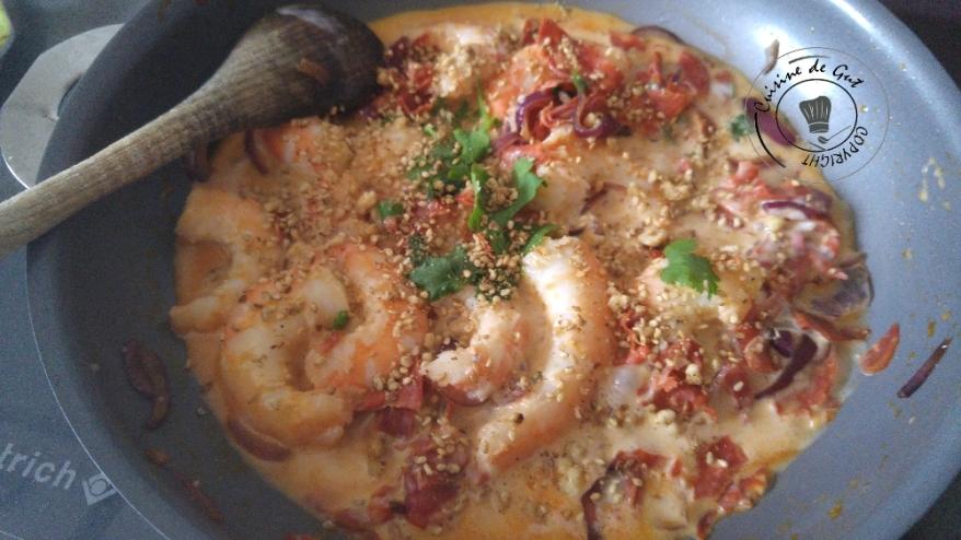 Maccheroni festonati crevette chorizo dukkah1