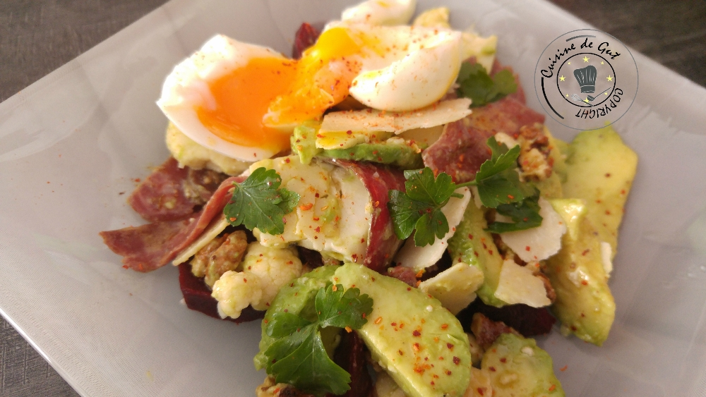 Salade fraicheur et oeuf mollet