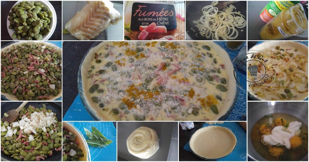 Tarte printanière fèves et lardons3