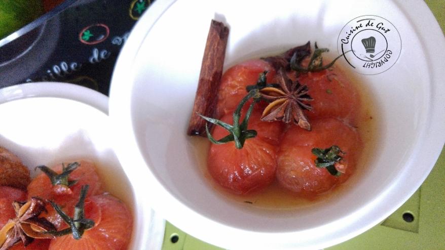 Tomates grappes aux épices et miel de carottes