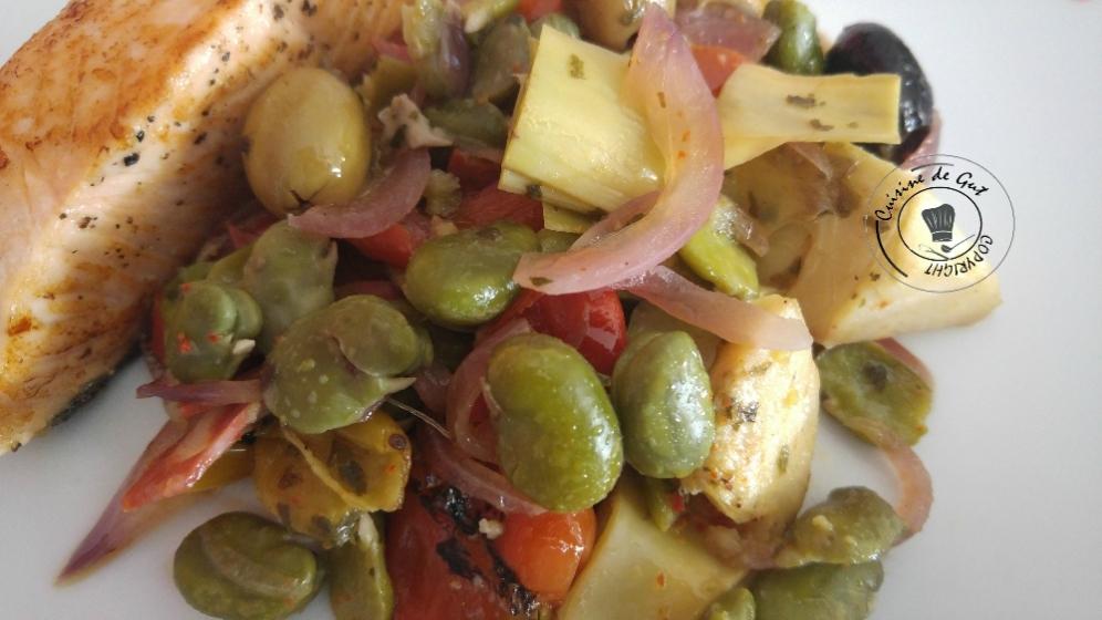 Poêlée de fèves et artichauts au chorizo