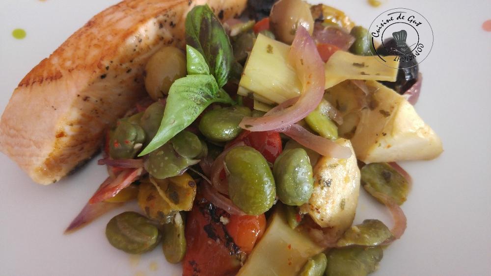 Poêlée de fèves et artichauts au chorizo2