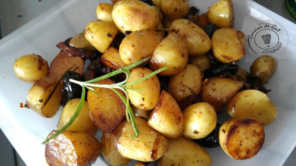 Primeurs au romarin, lardons et olives