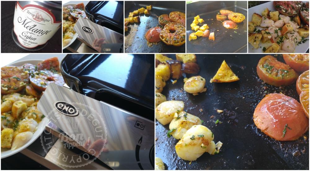 Noix de st Jacques tomates et pain au Mäis à la plancha Montage