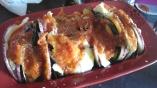Gratin d'aubergines striées et violette mozza et sauce tomate1