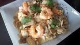 Crevettes champignons au rivesalt curry et coriandre