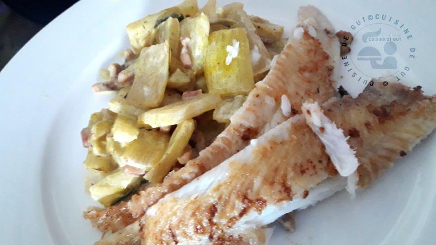 Filets de sole et cardes de blettes crème et colombo