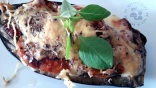 Aubergine farcie tomate coppa aux 2 fromages