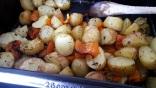 Grenailles et poivron aux herbes de provence au four