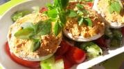 hampignons farcis houmous de poivron et terrine de saumon1