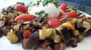 Légumes confits au four et burrata