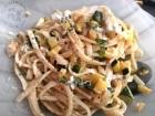 Linguines courgettes ail menthe citron et burrata