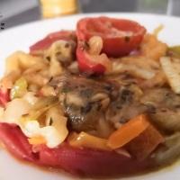 Petite poêlée de fenouil poivrons tomates au curry fort et orrigan