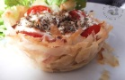 Croustillants de jambon tomate au Crescenza di capra