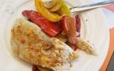 Plancha de morue aux poivrons ail et dukha au piment d'espelette