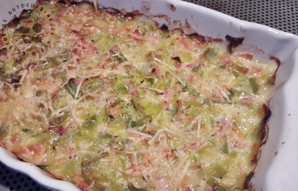 gratin de poireaux jambon aux 2 fromages