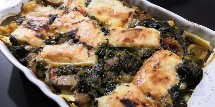 Lasagnes de légumes surgelés et fromage à raclette aux cèpes1