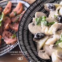 Coeur de Saumon mariné et salade de champignons pommes de terre