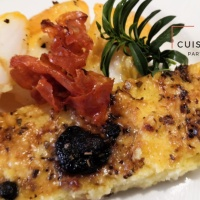 Cabillaud fumé chorizo et polenta aux parfums d'olive et origan