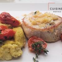 Grenadin de veau tomates confites et polenta au pesto et thym frais